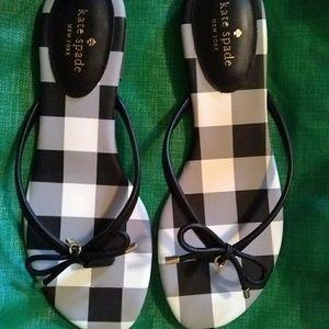 New Kate Spade Mistic Gingham Checkered Flip Flops